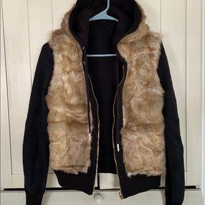 Reversible Faux Fur Hoodie Jacket